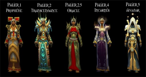 Les 5 premiers set d'armure prêtre de World of Warcraft