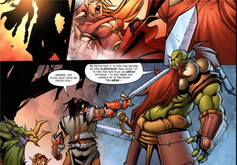 Logosh s'interpose entre un orc et la voleuse Valeera et le druide Broll