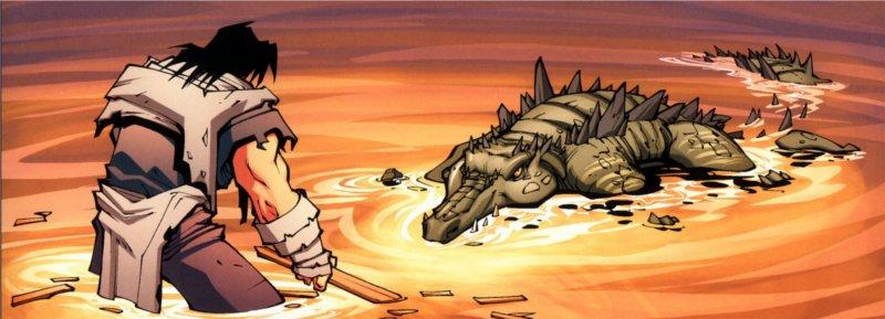 Lo'gosh se prépare à se battre contre un crocilisque (bande-dessinées World of Warcraft)