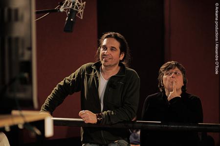 Brigitte Lecordier et Mark Lesser doublant le hors série Ogrest, la légende (2011)