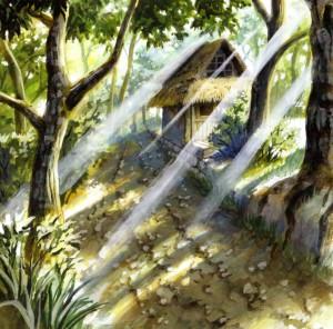 Les décors sont travaillés dans un style aquarellé