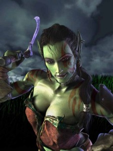 Garona dans une vidéo de présentation d'une alpha de Warcraft 3 (source : http://www.wowwiki.com/File:Garona.jpg)