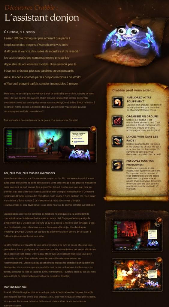Poisson d'Avril 2011 de Blizzard : le studio présente le familier Crabbie qui aide aux joueurs à prendre la décision dans les bonnes situations