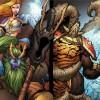 La magicienne Jaina Portvaill et le druide Broll lancent des sorts pour abattre des draconiques noirs d'Onyxia (BD World of Warcraft)
