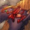 Vallera est sur le Broll en forme d'oiseau et se prépare à tuer un magicien draconide (BD World of Warcraft)