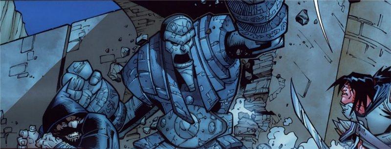 Combat sur le pont Thandol, Lo'gosh attaque seul un golem (BD world of Warcraft))