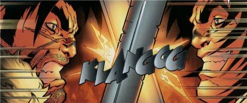 Lo'gosh se bat contre son double qui dirigeait Hurlevent en son absence (BD world of Warcraft)