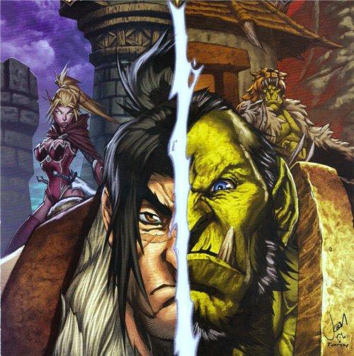 Varian et Thrall en couverture d'un comics (BD World of Warcraft)