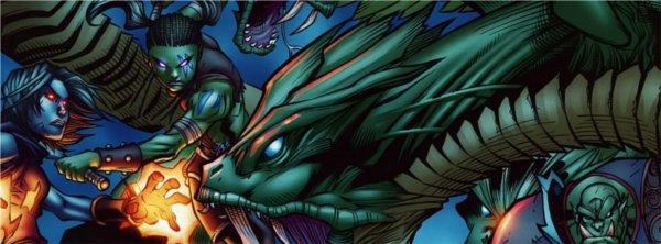 Le camp du Marteau du Crépuscule est attaqué par des monstres et Garona se bat pour le protéger (bande-dessinée World of Warcraft)
