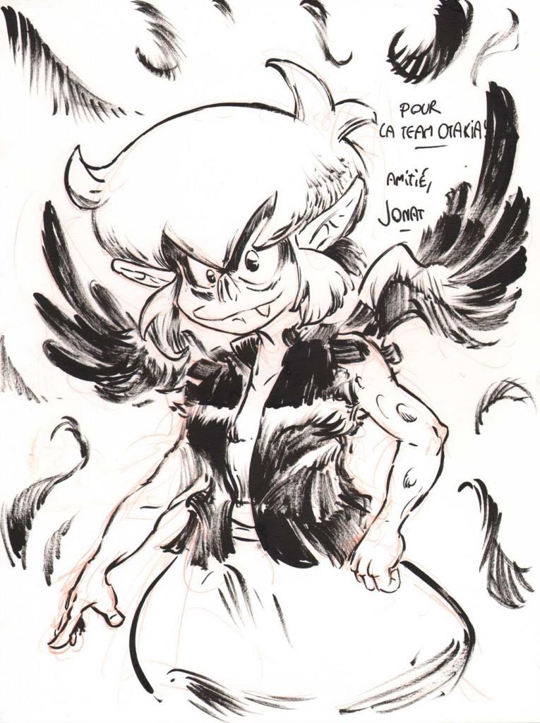 Dédicace de Jonat représentant Brumen Tinctorias (Dofus Monster)