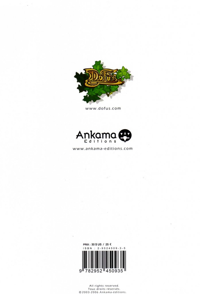 Dofus Art Book : Session 2 (dos de la Couverture)