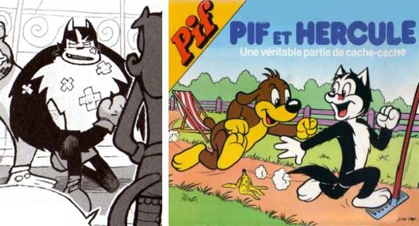 Dans le Manga Dofus, le chat Hercule fait allusion à la série Pif et Hercule