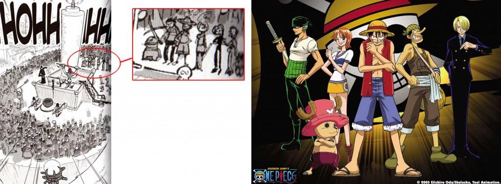 On peut voir l'équipage de Luffy (One Piece) parmi les spectateur (Dofus)