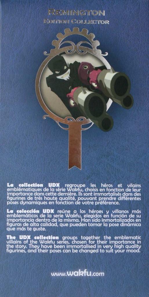 latéral gauche du packaging de la figurine Remington UDX (Wakfu)