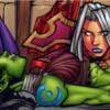 Garona évanouie suite à l'effort qu'elle entreprend pour se souvenir du Marteau du Crépuscule (bande-dessinée World of Warcraft)