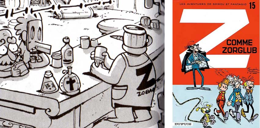 Le Z dans le dos du Barman évoque le costume des Zorglhomme de Zorglub