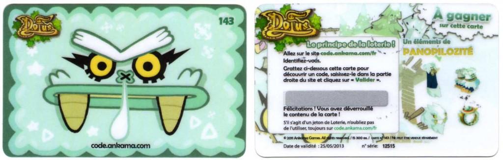 Carte de loterie Dofus 143 (fournie avec le tome 15 de Dofus)