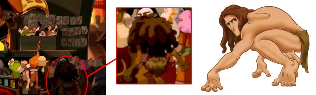 Parmi les clients du marché, on peut voir Tarzan (Wakfi épisode 10)