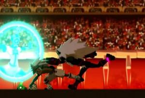 Kriss la Krass essaye d'attaquer le Boufbowler Masqué (Wakfu - Boufbowl)