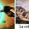 """Cette scène est inspiré de la peinture """"la création de l'homme"""" par Michel-Ange"""