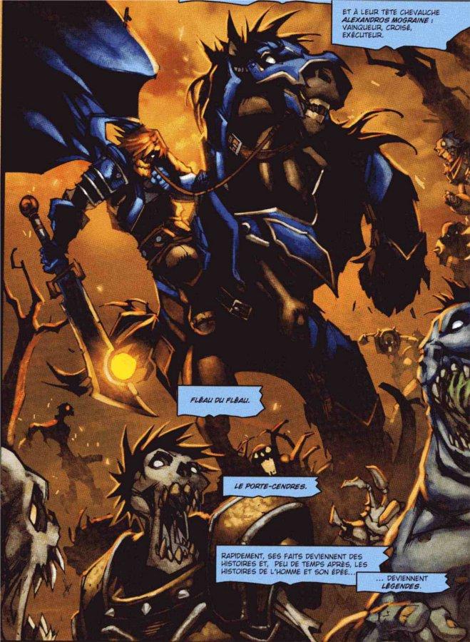 Alexandros Mograine massacrant des morts-vivants grâce à son épée magique Porte-Cendres