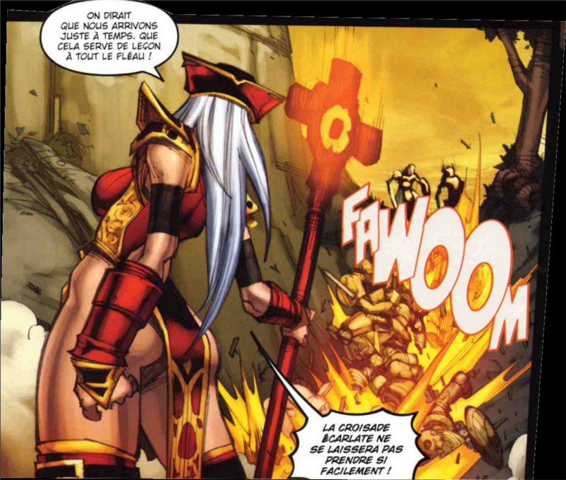 Whitemane se battant contre le Fléau (Bande-dessinée World of Warcraft - Porte-Cendres)