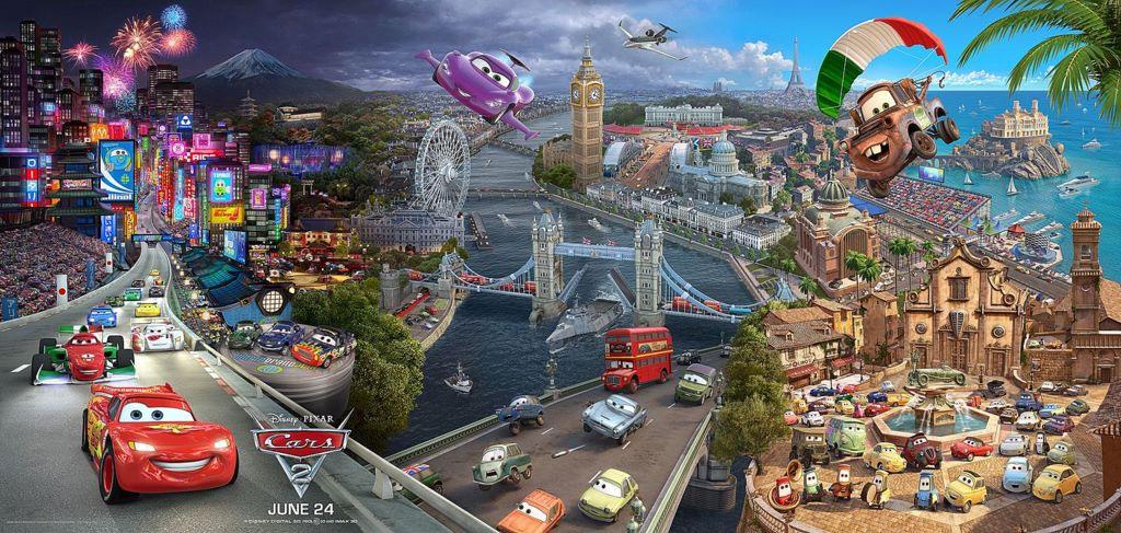 Cars 2 - Pixar (affiche : Tokyo - Londres - Italie )