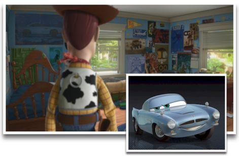 Finn McMissile est présent dans Toy Story 3sur un poster à gauche de Woody