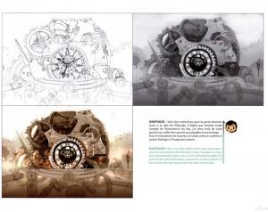 Croquis de recherche sur la salle de l'éliacube dans l'horloge de Nox (Wakfu : Art book Tome 6 )