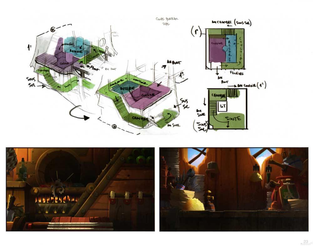 L'intérieur du bateau de Yugo est détaillé avec précision (Art book Wakfu Tome 6)