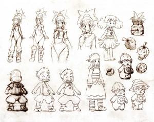 Croquis de recherche sur la famille de Nox (Art book Wakfu Tome 6)