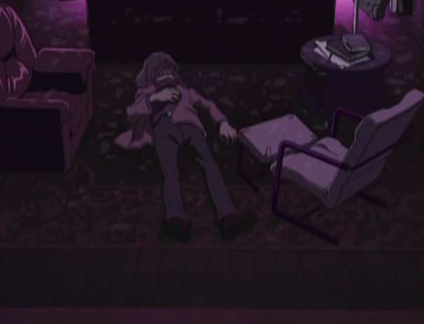 Tadashi trouve le cadavre de son père (Herlock, Endless Odyssey)