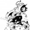 Lorsqu'il se transforme en Wyrd Krad, le corps de Pym Eoliath se recouvre de tatouages (Dofus)