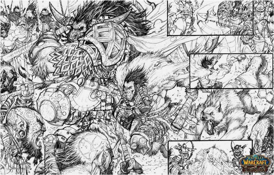 Une double page du comics Bloodsworn par Raapack