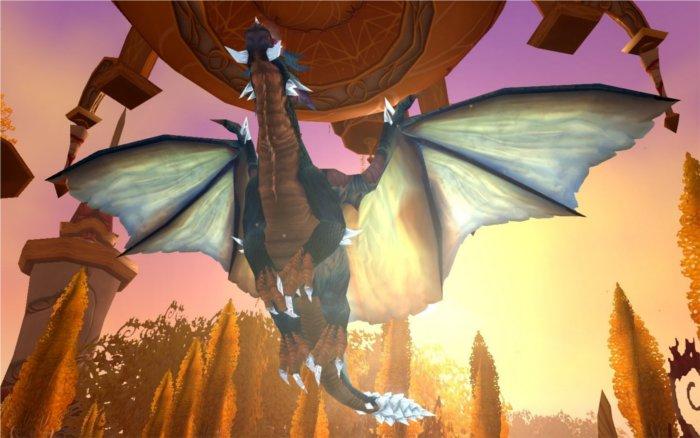 Kalecgos volant sous sa forme dragon dans le raid du puits de soleil