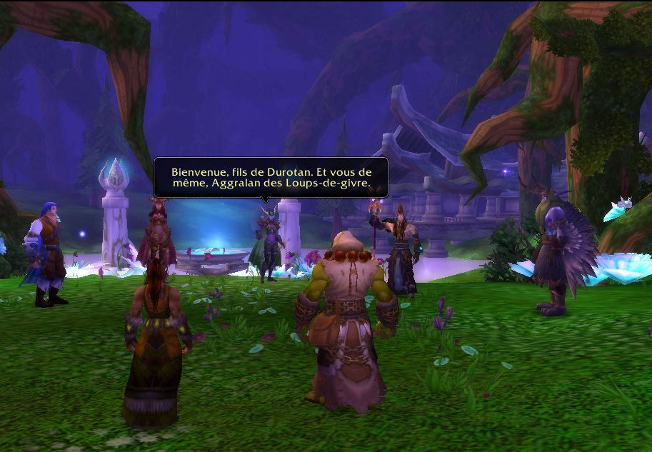 Thrall, sa compagne Aggra et les 4 Aspects des dragons (Alexstrazsa, Kalecgos, Nozdormu et Ysera)