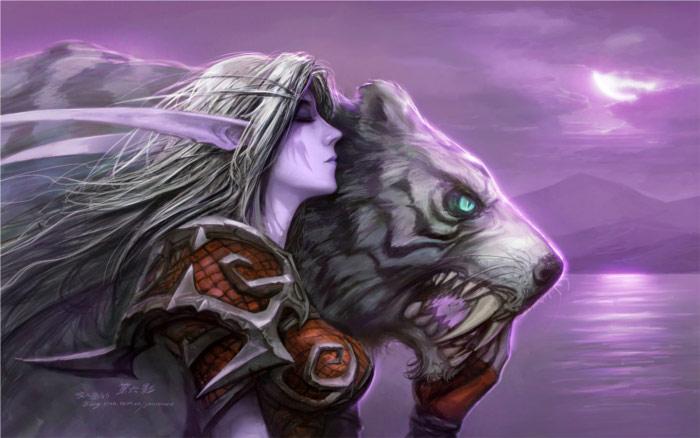 Une elfe de la nuit accompagnée d'un tigre (Warcraft)
