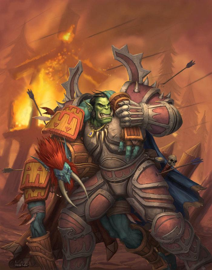 Orc aidant un troll sur un champ de bataille (Warcraft)