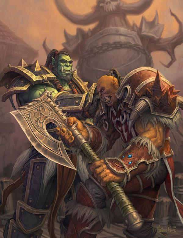 Thrall donnant à Garrosh l'arme de son père (Warcraft)