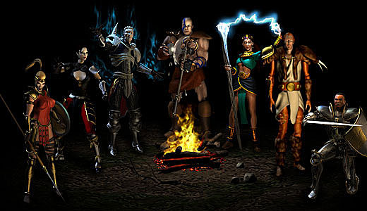 Diablo 2 : Ecran de sélection des classes