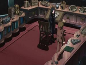 L'assistante du professeur Daiba montre à Tadashi le bureau de son père (Herlock, Endless odyssey)
