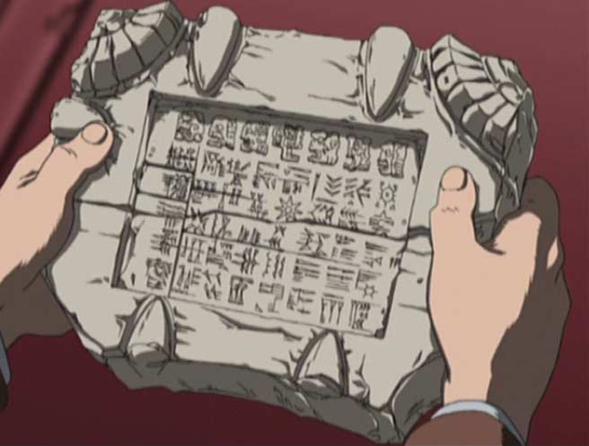 Shizuka Namino donne à Tabashi une mystérieuse tablette (Herlock, Endless odyssey)