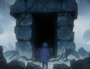Tadashi arrive devant un portail de pierre (Albator - Herlock, Endless odyssey - Episode 03)