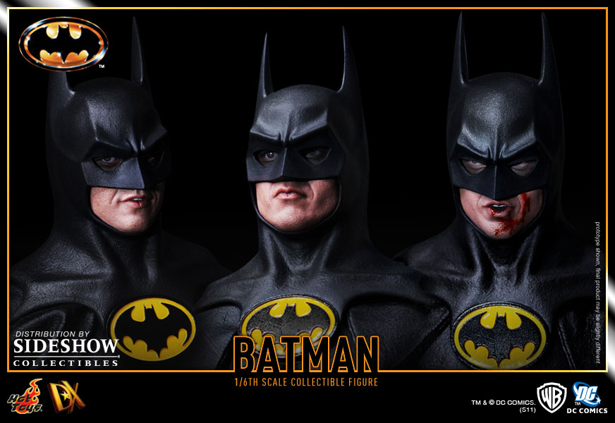 Image des 3 têtes de la figurine de Batman (version de 1989, Tim Burton) par Hot Toys