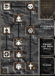 Exemple d'arbre de talents dans Diablo 2 (le nécromancien)