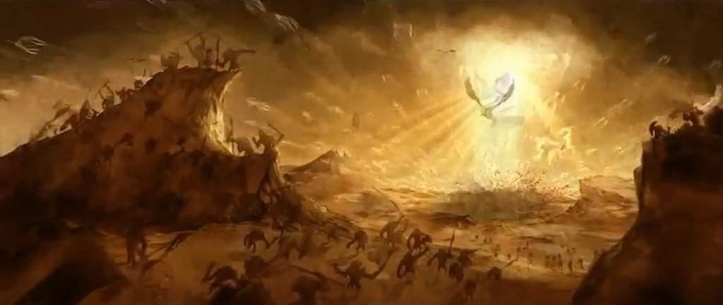 Vision d'une prophétie dans Diablo 3 avec le combat des anges et les démons