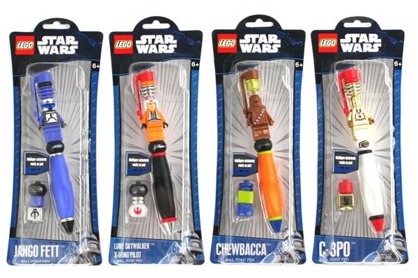 Stylo Lego / Star Wars avec Jango Fett, Luke Skywalker, Chewbacca, C6PO