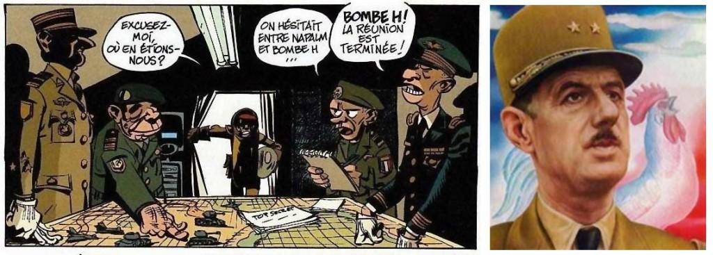 Le personnage de gauche est une caricature du Général de Gaulle - Alerte aux Zorkons (Spirou et Fantasio - tome 51)