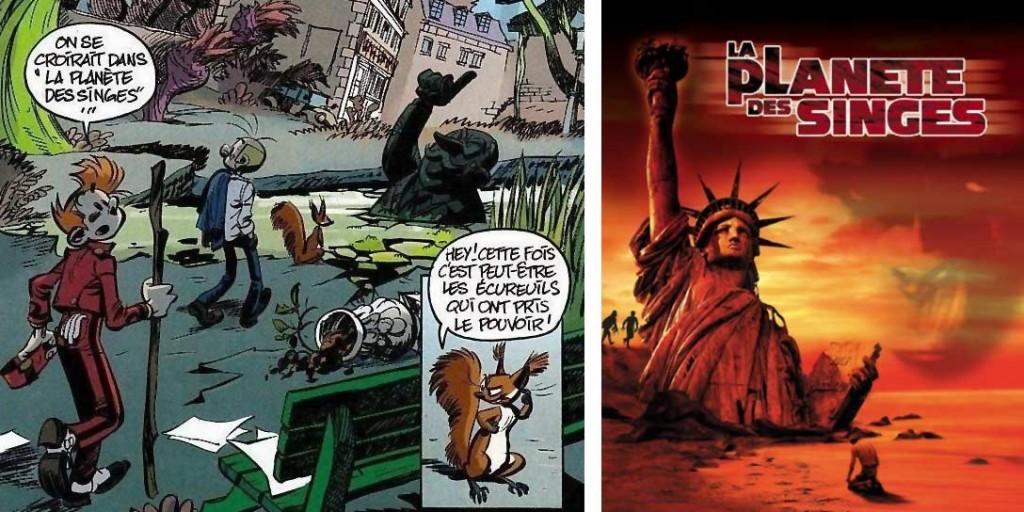 La statue du maire ensevelie est un clin d'œil à la planète des singes - Alerte aux Zorkons (Spirou et Fantasio - tome 51)