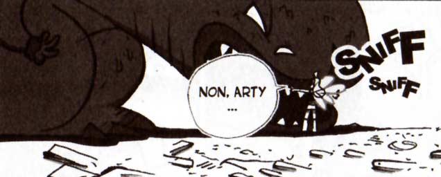 Lily tente de calmer Arty le dragon (Dofus Tome 6)
